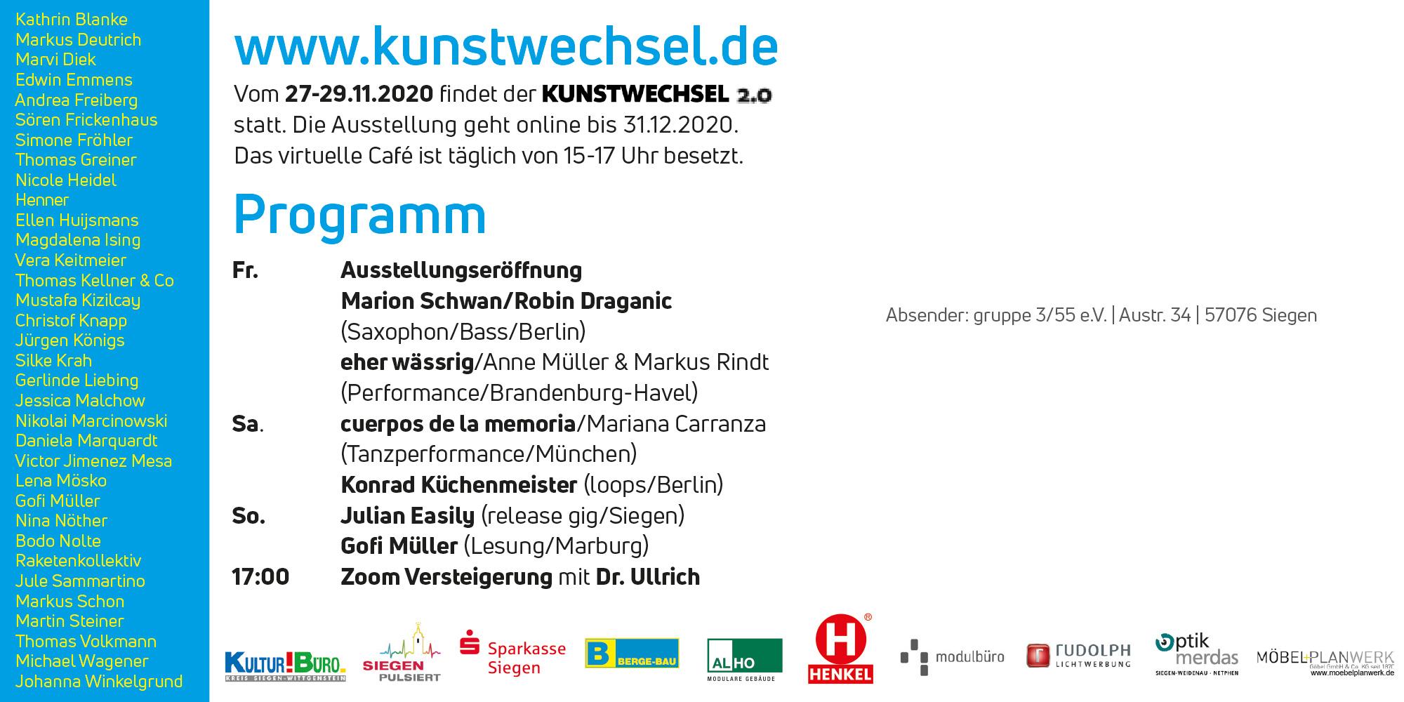 Kunstwechsel 2.0 digital in Siegen vom 27-29.11.2020